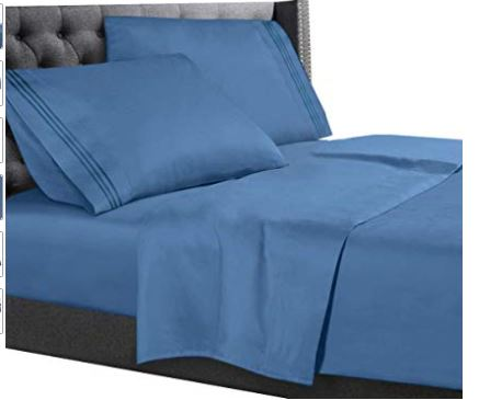 4 Piece KING Size Bed Sheet Set Microfiber Sheets Fitted and Flat DEEP-POCKET